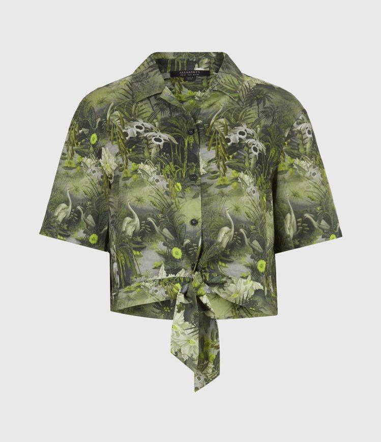 AllSaints Leni Rejuvenate印花短版襯衫5,000元。圖/...