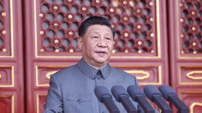中共總書記習近平今天上午在中共建黨100周年大會上發表談話。圖/取自澎湃新聞