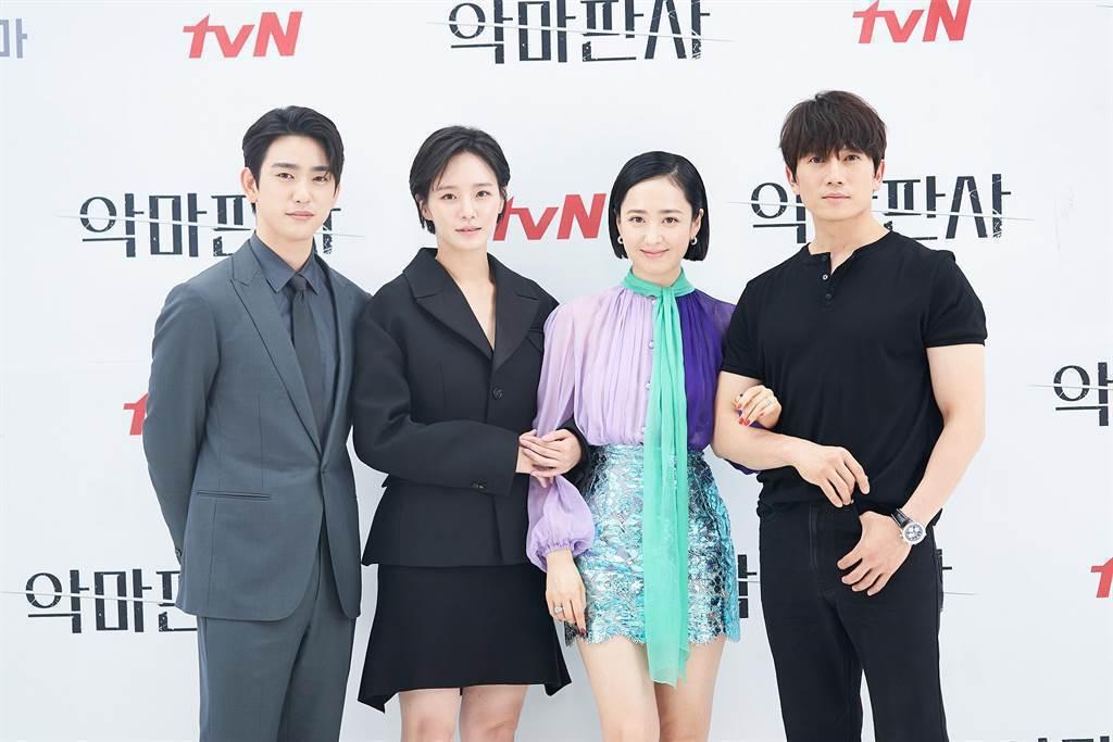 朴珍榮(左起)、朴珪瑛、 金玟廷、 池晟出席新戲「惡魔法官」記者會,暢聊拍戲趣事