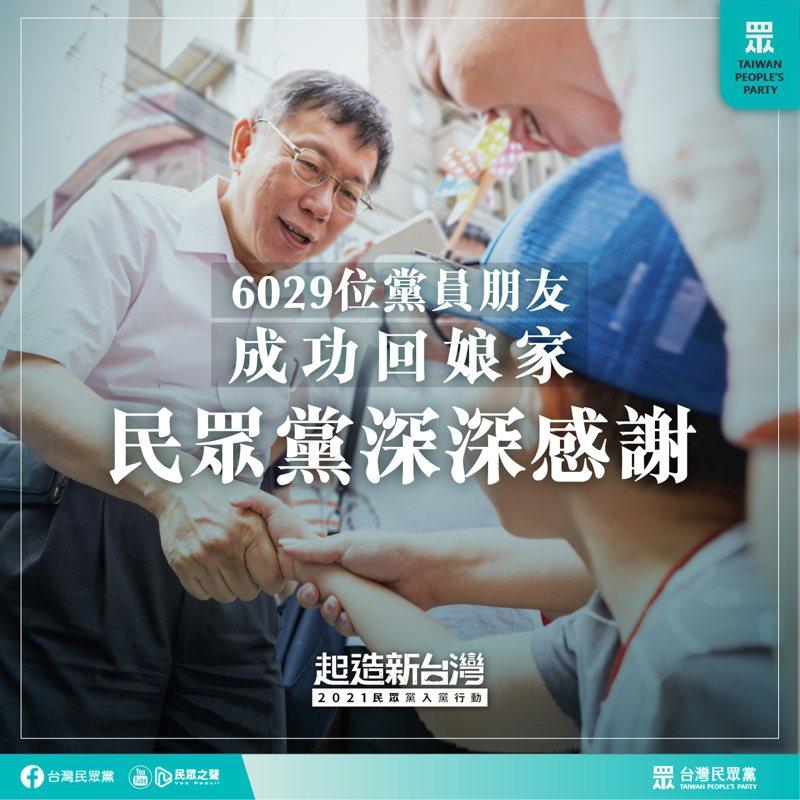 民眾黨6月啟動「起造新台灣」年度黨員重整及黨費繳交作業。圖/民眾黨提供
