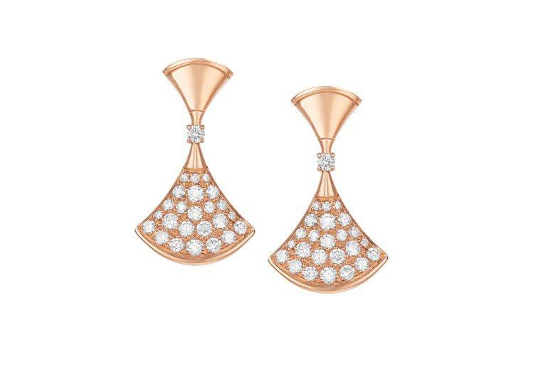 BVLGARI Divas' Dream玫瑰金鑽石耳環,約22萬9,700元。圖...
