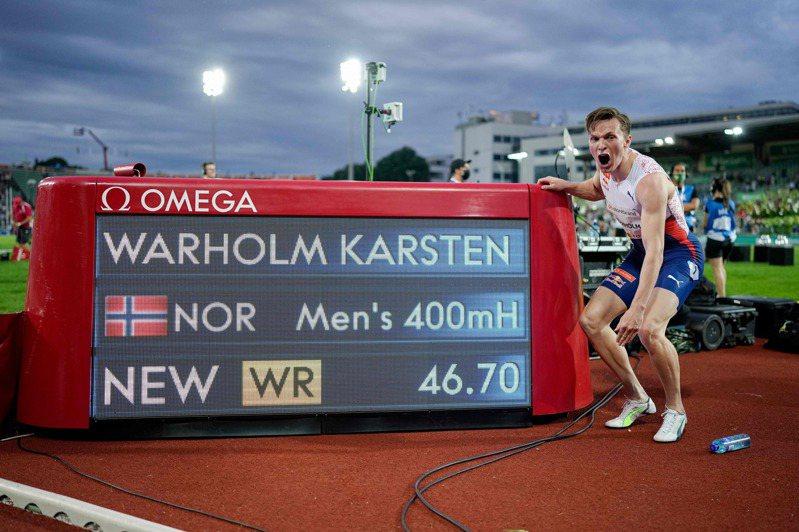 高懸29年的男子400公尺跨欄世界紀錄,今天在鑽石聯賽奧斯陸站遭到挪威25歲好手沃霍爾(Karsten Warholm)以46秒70刷新。 法新社