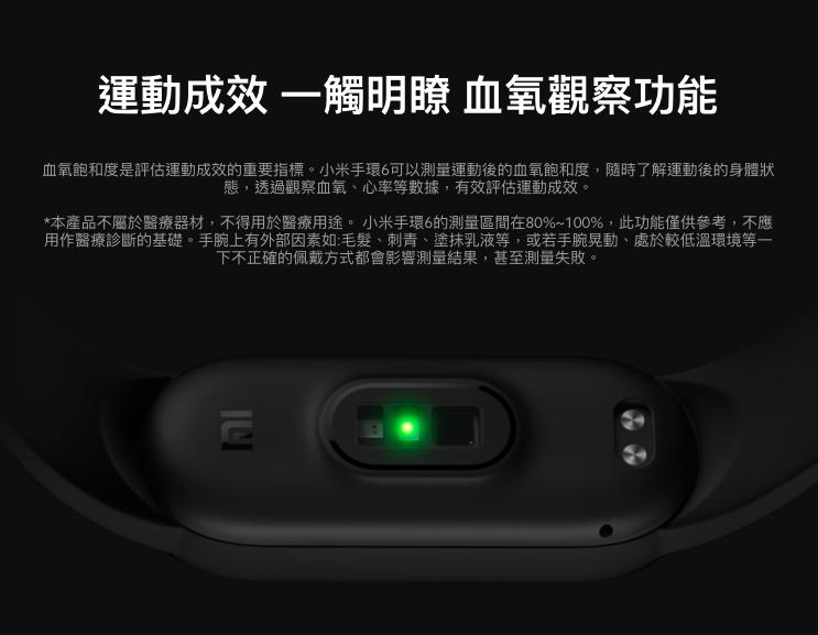 現在許多智慧穿戴裝置都附有血氧濃度監測功能。 圖/取自小米台灣官網