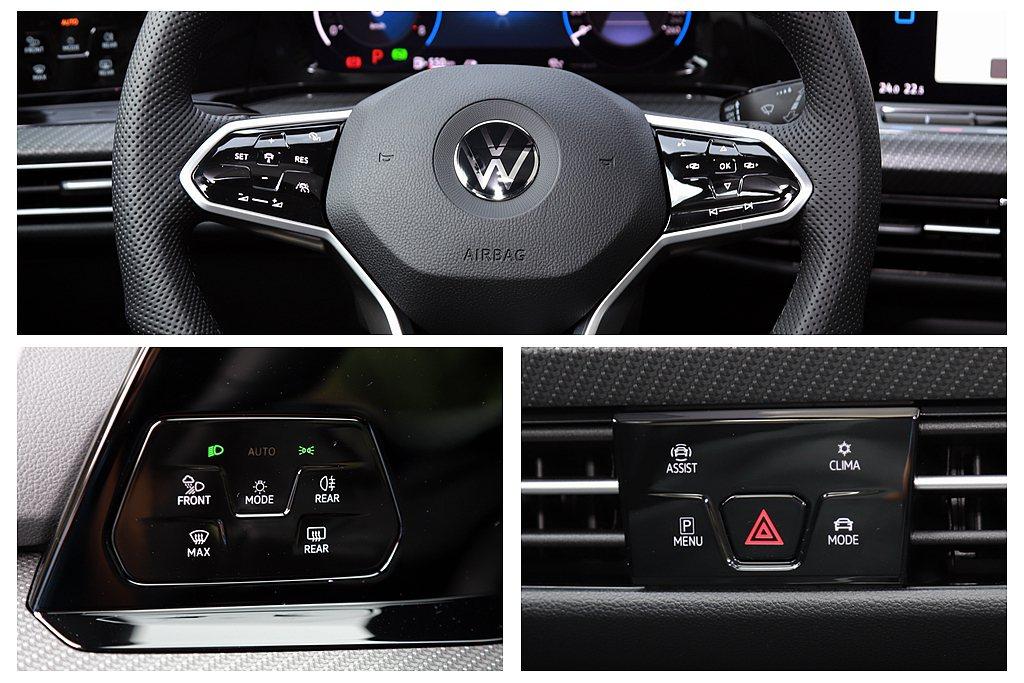 福斯Golf 280 eTSI R-Line車艙內按鍵近99%改為數位觸控式,包...