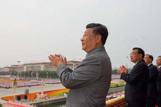 圖為中共中央總書習近平7月1日在天安門城樓上,出席中國共產黨成立100周年慶祝大會。新華社