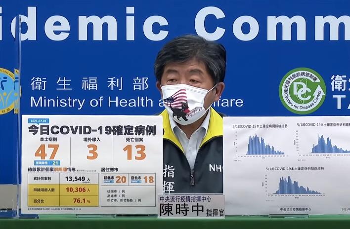 中央流行疫情指揮中心指揮官陳時中昨日在記者會戴上特製的「台灣戰貓口罩」。圖/翻攝udn TV直播畫面