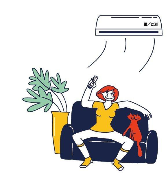 冷氣溫度建議控制26至28度,不僅適合人體,也可省電、省荷包。圖/123RF
