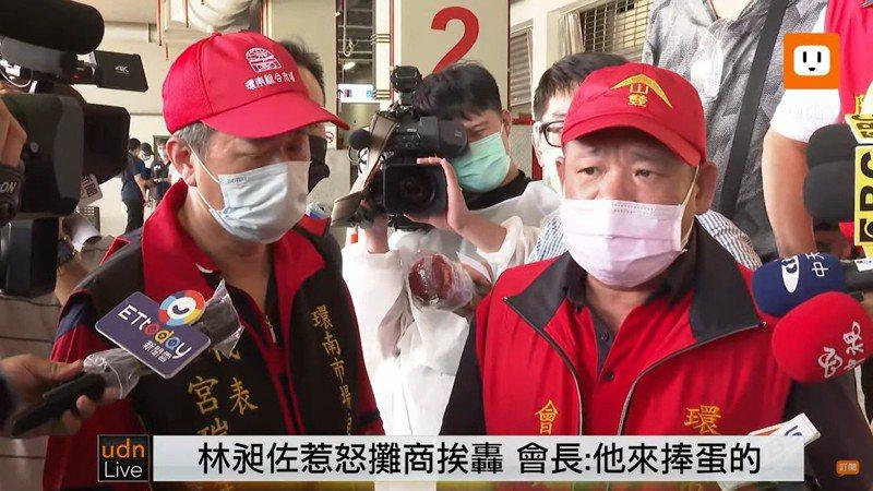 立法委員林昶佐對台北市長柯文哲開砲,卻被環南市場自治會長林勝東(右)反嗆。udn直播