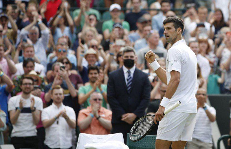 約克維奇(Novak Djokovic)力克美國好手晉級溫網16強。 路透社