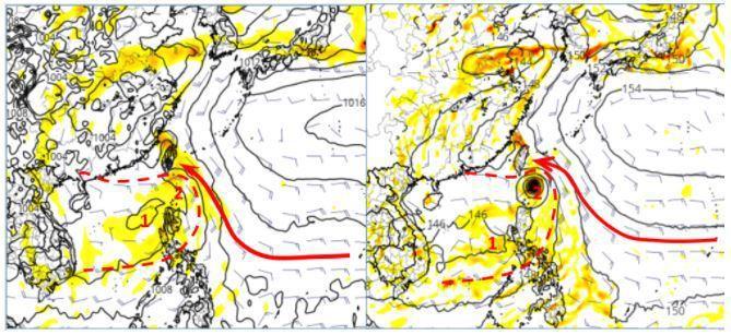 歐洲模式模擬下周一20時地面圖(左圖)顯示,有大而鬆散的低壓環流(紅虛線)進入南海;呈現2個環流中心,主中心(紅1)在南海發展,副中心(紅2)則在巴士海峽,台灣受東南風影響(紅箭)。美國模式亦有類似的模擬(右圖),但以在巴士海峽的中心強度較強。圖擷自tropical tidbits。圖/取自「三立準氣象.老大洩天機」專欄