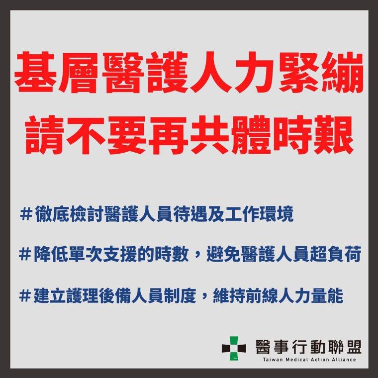 台灣醫事行動聯盟提出三大訴求。圖/醫事行動聯盟提供