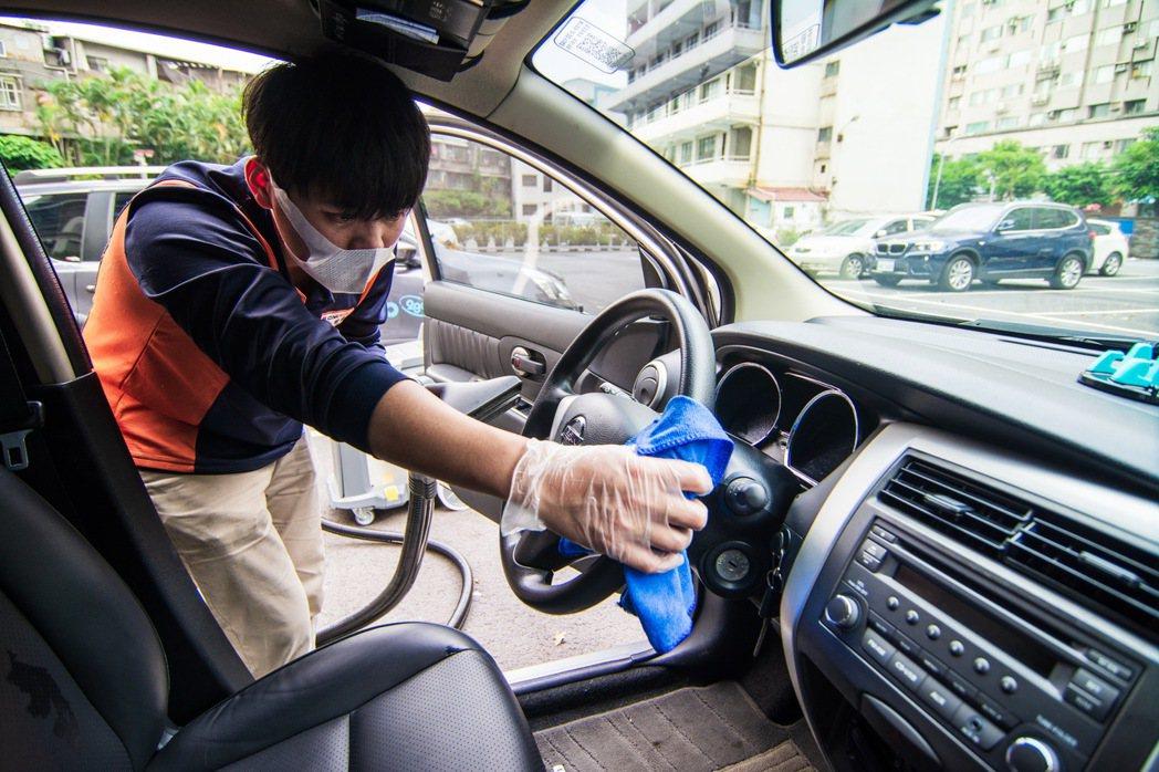 格上車輛每次用車結束都會嚴格清消,嚴格防疫。 圖/格上租車提供