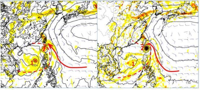 歐洲模式模擬周地面圖(左圖)顯示,有大而鬆散的低壓環流(紅虛線)進入南海;呈現2個環流中心,主中心(紅1)在南海發展,副中心(紅2)則在巴士海峽,台灣受東南風影響(紅箭)。美國模式亦有類似的模擬(右圖),但在巴士海峽的環流中心強度較強。圖擷自tropical tidbits。圖/取自「三立準氣象.老大洩天機」專欄