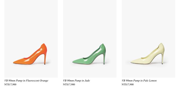 「貝嫂」維多利亞自家同名品牌也推出了許多糖果色的尖頭高跟鞋。圖/摘自官網