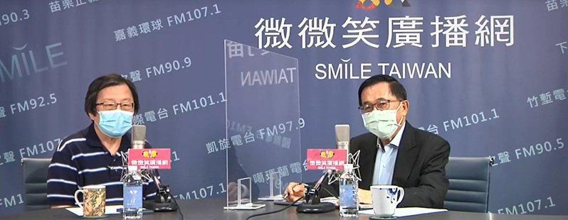 前總統陳水扁(右)今天在廣播節目專訪國安會前秘書長邱義仁。翻攝自微微笑廣播直播畫面