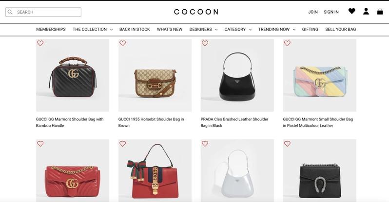 包款租賃電商Cocoon提供多種人氣款商品。 圖/摘自官網