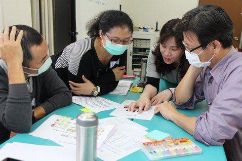教師作為彼此的支持,不斷地反覆練習設計思考的心態及操作技巧。 圖/「臺灣童心創意...