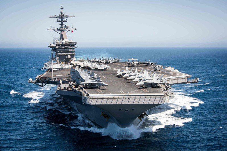 美國羅斯福號航空母艦。法新社