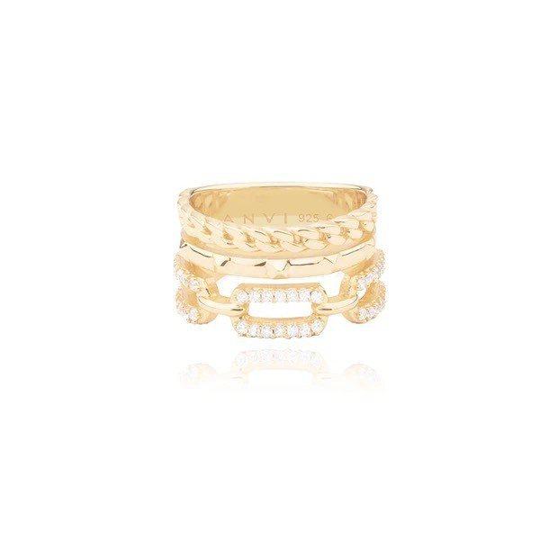 Laurel三圈滿鑽串鍊戒指,3,350元。圖/ANVI Studios提供