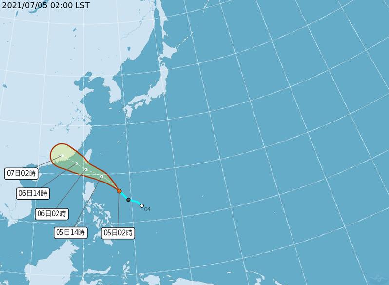 目前熱帶低壓正在鵝鑾鼻東南東方680公里海面上,會快速接近巴士海峽,周一晚上到周二是最接近台灣的時候。截圖自中央氣象局。