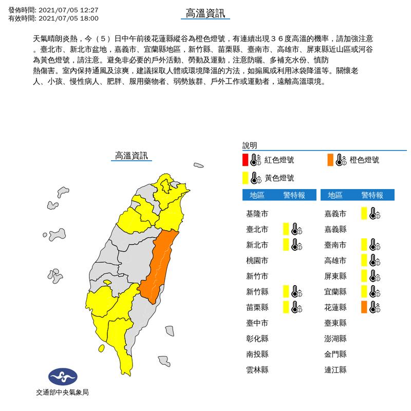 天氣晴朗炎熱,今(5)日中午前後花蓮縣縱谷為橙色燈號,有連續出現36度高溫的機率。圖/中央氣象局提供