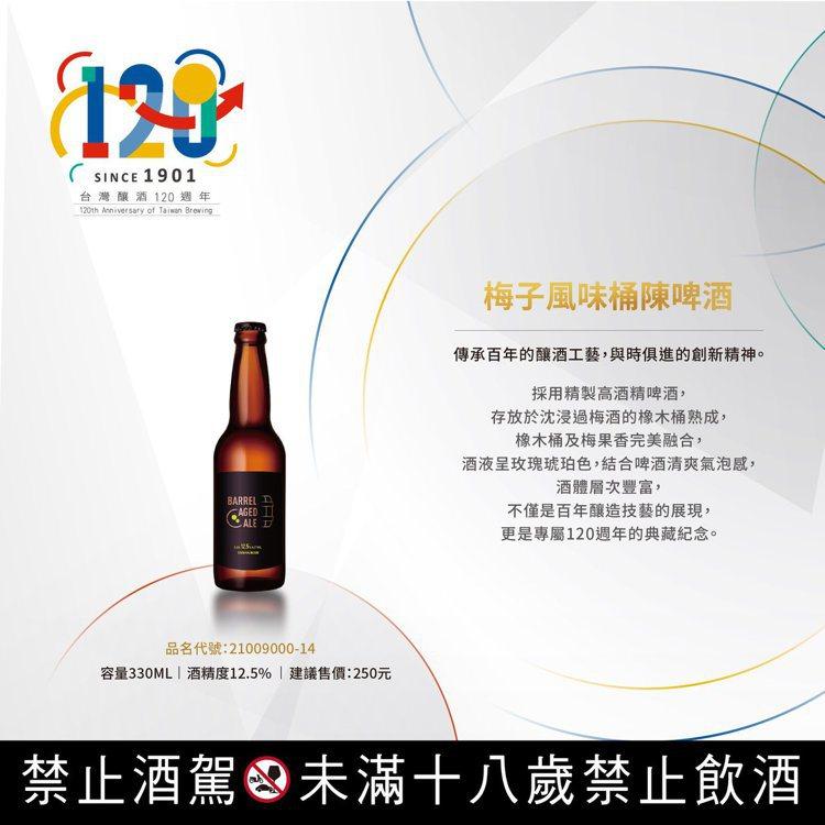 梅子風味桶陳啤酒,容量330毫升,酒精濃度12.5%。圖/摘自台灣菸酒公司官網。...