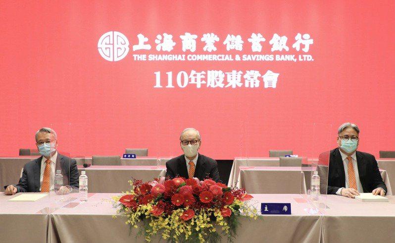 上海商銀今日舉行股東常會,由駐行常務董事陳逸平 (中)、總經理林志宏(左)、執行副總榮康信(右)共同主持。上海商銀/提供