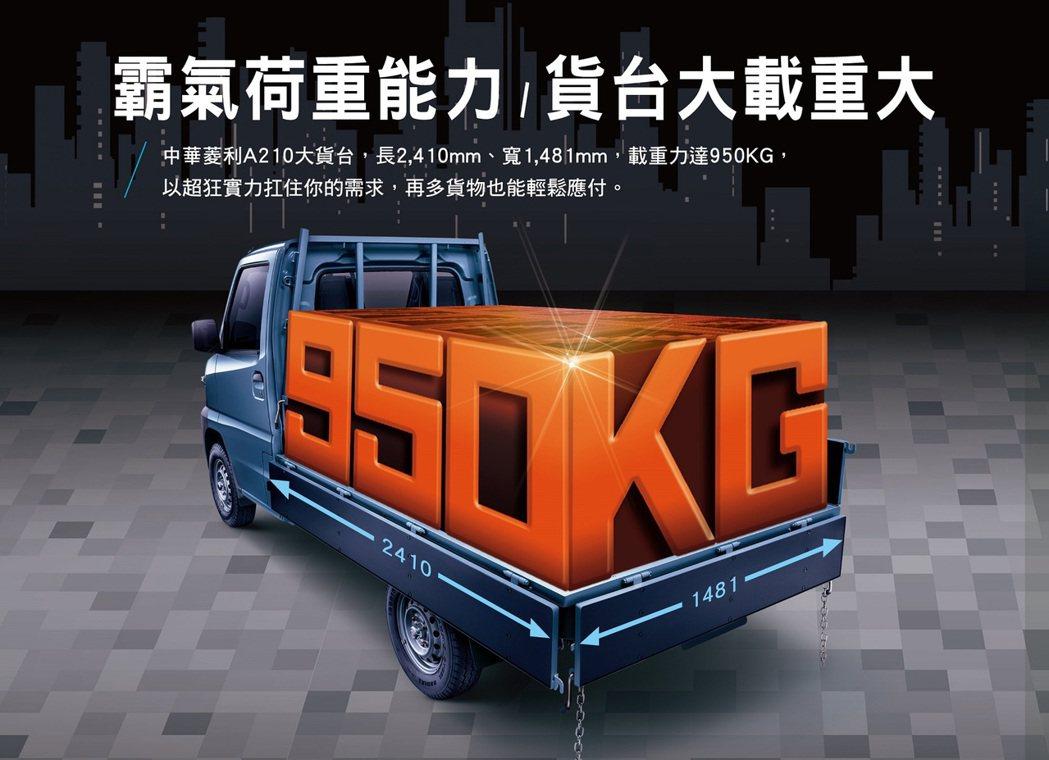 中華菱利商用車好幫手,提升最大載重量至950公斤。 圖/中華汽車提供