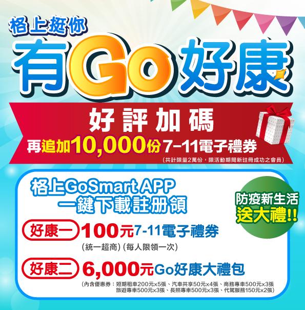 格上Go Smart加碼百萬禮券免費送。 圖/格上租車提供