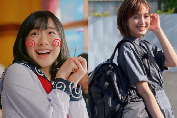 蘆田愛菜(左)與本田翼(右)分別獲得第二名與第一名。圖/摘自推特、IG