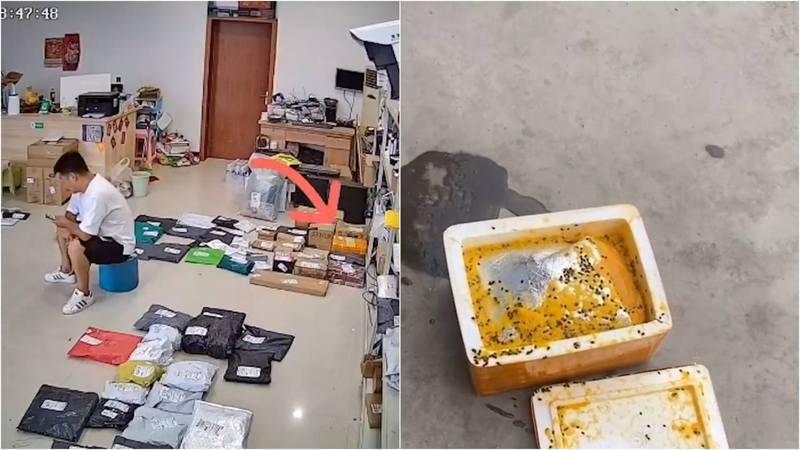 劉先生正在店內玩手機,貨架旁邊的包裹突然爆炸。  圖/香港01