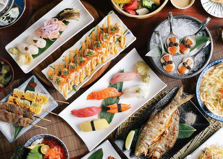 圖/儂儂提供 明太子大蛤炒烏龍 120元、鮭魚毛毛蟲壽司 216元、烤香魚 7...