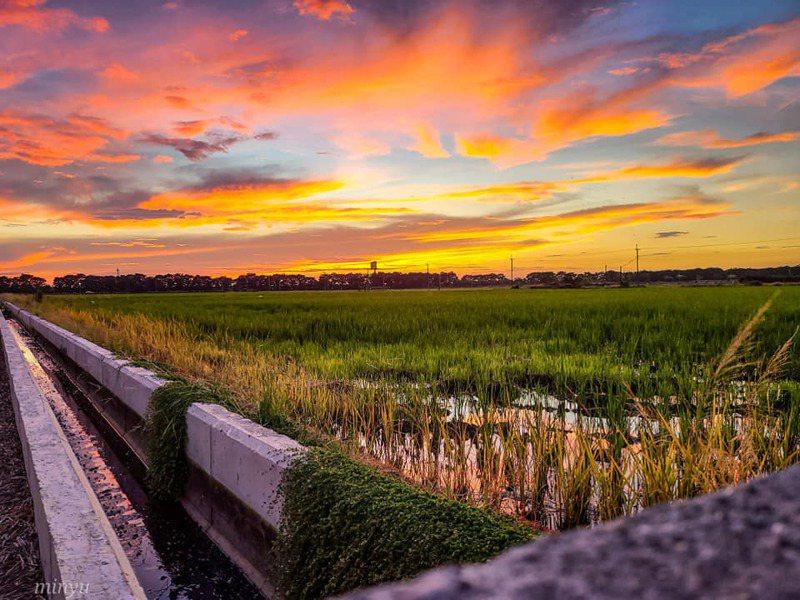 攝影師蕭閔嵎昨天下午於嘉義縣住家附近捕捉絕美火燒雲,彩霞競相爭艷,萬紫千紅的美景PO上網,網友直呼真是太美了。圖/蕭閔嵎提供