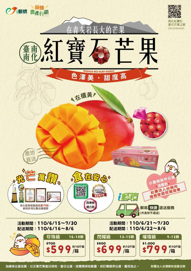 台南郵局協助芒果行銷,憑藉郵局好口碑業績斐然,被市府讚稱是「神隊友」。圖 /台南市政府農業局提供