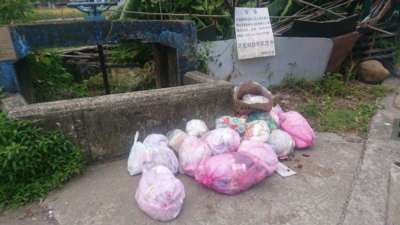 苗栗市7月1日全面恢復夜間清運垃,但至今白天街頭仍散見垃圾包堆頭。記者范榮達/攝影