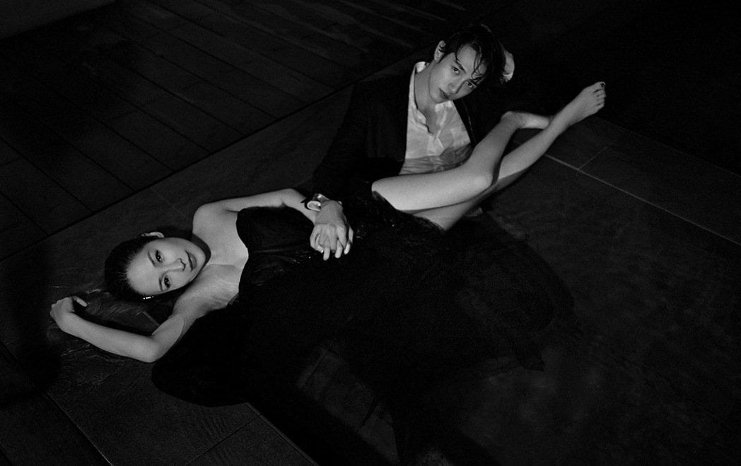 蕭亞軒(左)和黃皓曾甜蜜拍攝MV。圖/經紀公司提供