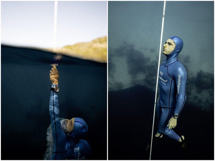 Arnaud Jerald在2020年成功在希臘屏息下潛至112米,刷新世界紀錄...