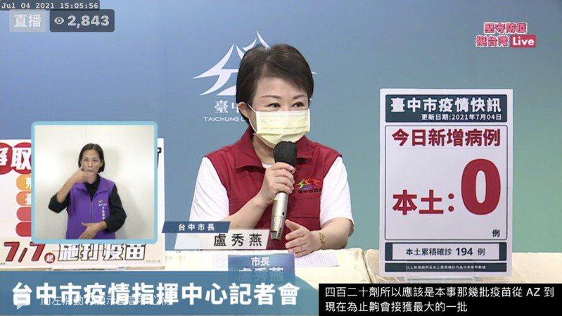 台中市長盧秀燕指出,幼兒園教師打疫苗日期照舊,7月8日到9日打完。圖/取自臉書