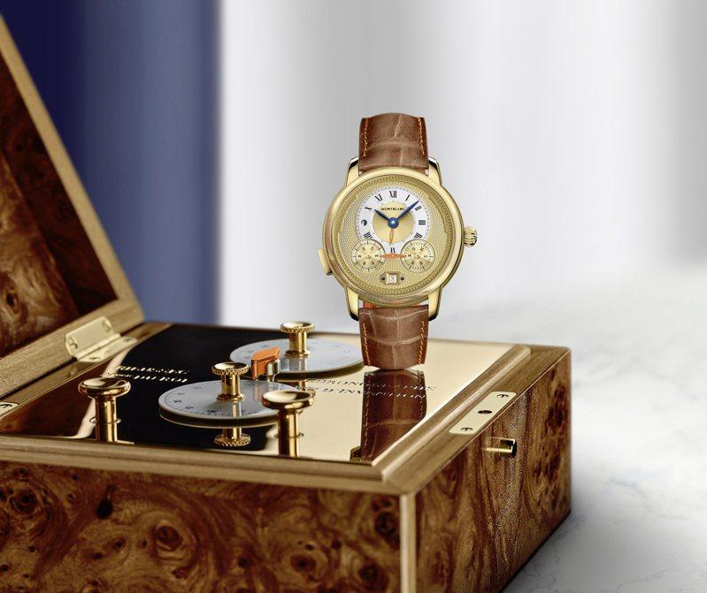 萬寶龍(Montblanc)Star Legacy Nicolas Rieussec計時碼表Only Watch特別版,以早期計時器原型為設計:指針固定、但計時轉盤旋轉的特殊形式為特色。圖/萬寶龍提供