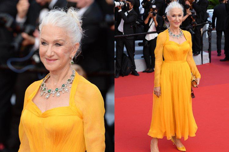 曾兩次奪得坎城影后的海倫米蘭穿著搶眼的黃色禮服搭配同色系高跟鞋。圖/達志影像