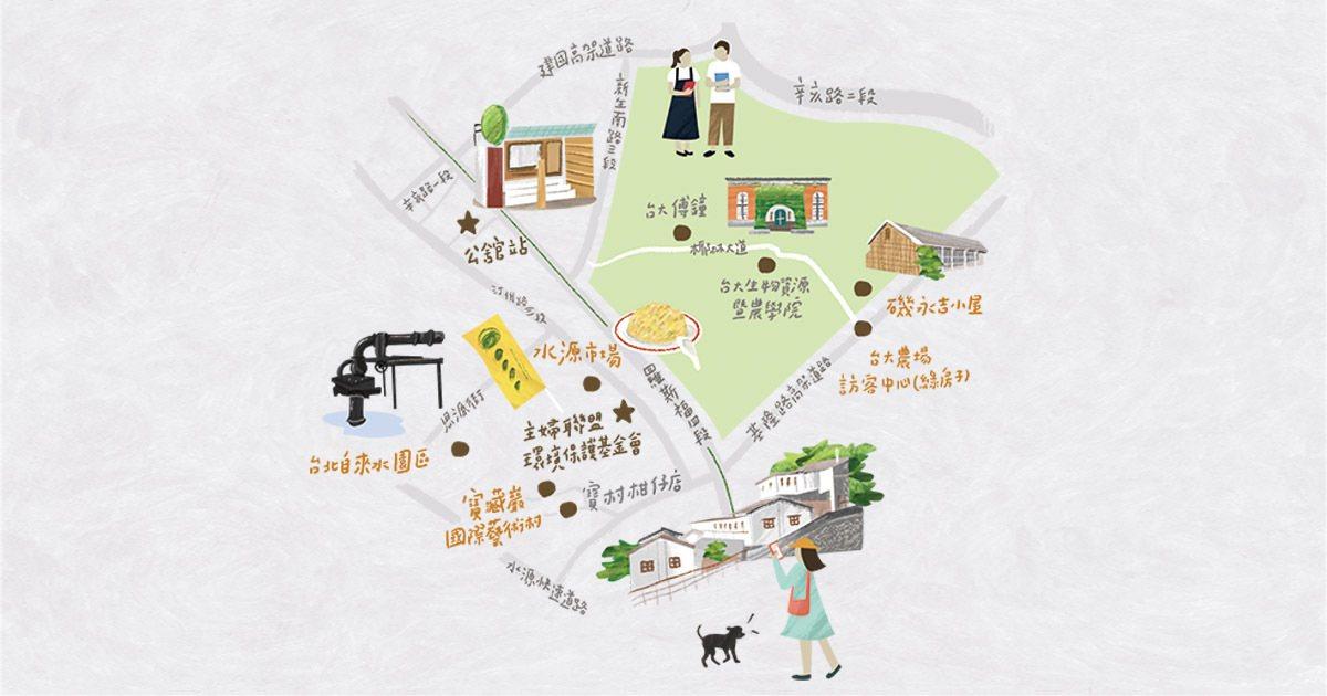 尋訪蓬萊米誕生地、台北自來水發源處,記憶構成的歷史斷面長出了藝術村... 繪圖/...