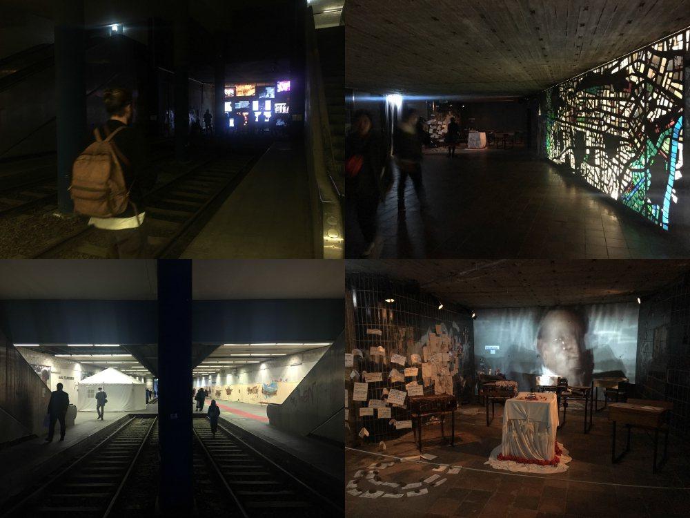 當地鐵站變身藝術展覽現場,可以看到彩繪玻璃、影像、裝置作品,人們也走在鐵軌上看作...
