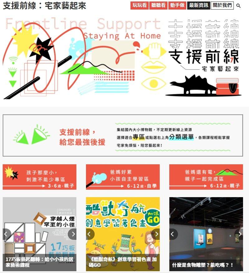 「支援前線-宅家藝起來」平台首頁。圖/北師美術館提供