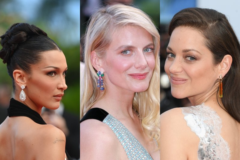 眾女星配戴高級珠寶耳環出席74屆坎城影展紅毯。圖/蕭邦、卡地亞、香奈兒提供