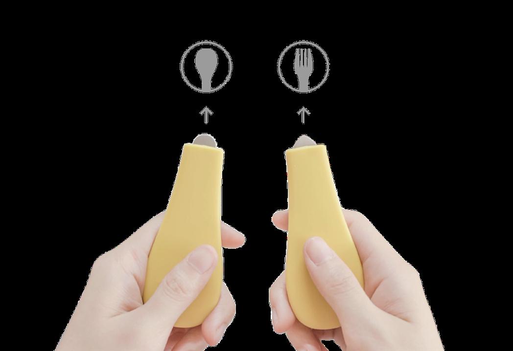 Clicking口卡餐具尾端圓尖形狀設計,即使不一個個打開來也能輕易辨識。 圖/...