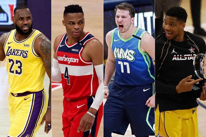 美國職棒天使隊球星大谷翔平本季因為優異的二刀流表現而爆紅,在NBA也有詹姆斯、衛斯特布魯克、唐西奇、安戴托昆波(左至右)有非常全面的身手而廣受球迷的喜愛。 歐新社資料照片