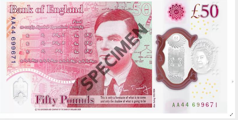 新版50英鎊塑膠鈔券設計。資料來源/中央銀行券幣數位博物館