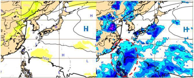 歐洲(ECMWF)模式,模擬14日20時地面氣壓(左圖)及6小時累積雨量圖(右圖)顯示,太平洋高壓東退減弱,東風波(右圖紅虛圈)移入。圖/取自「三立準氣象.老大洩天機」專欄