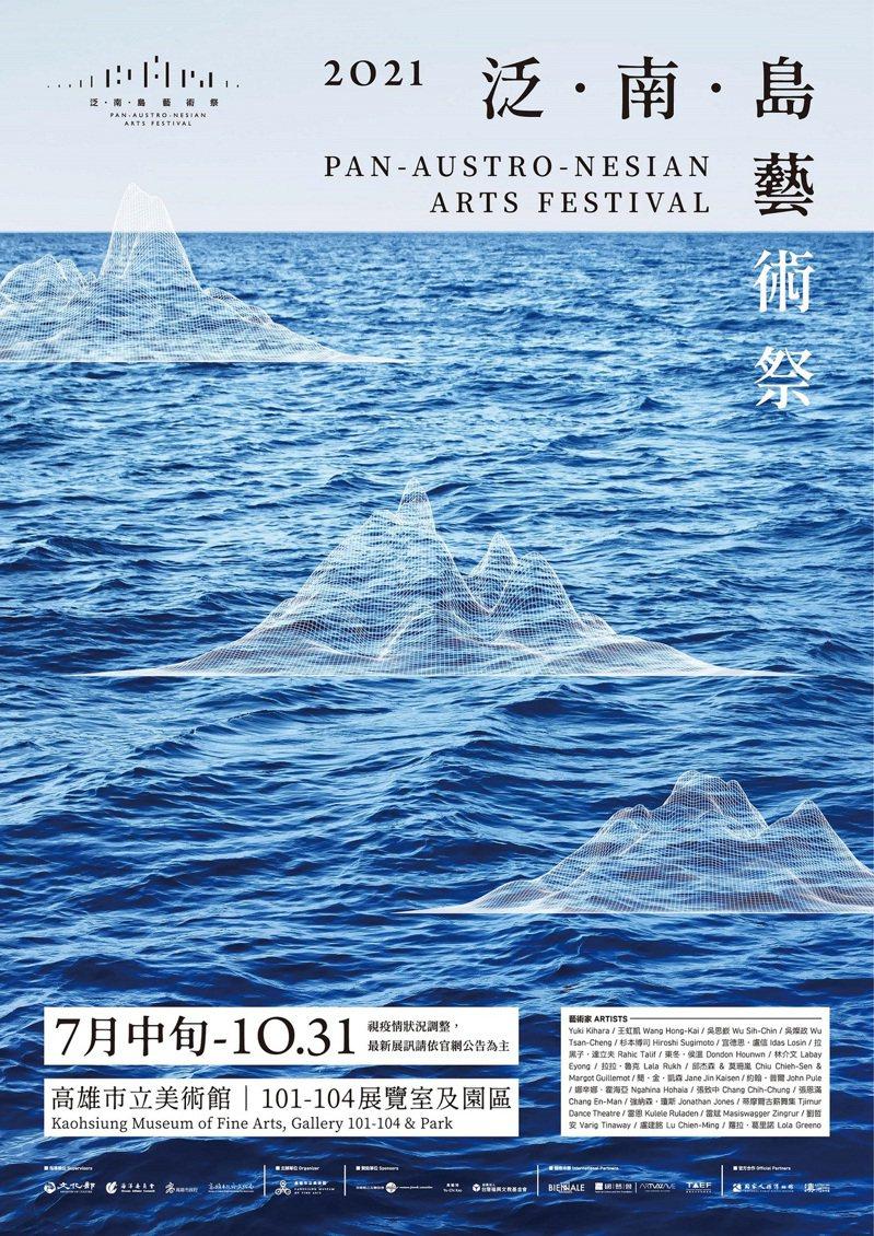 《泛.南.島藝術祭》展覽主視覺,由角白設計負責人莊濟寰操刀規畫,引申「海洋」和「島嶼」的概念。圖/高美館提供