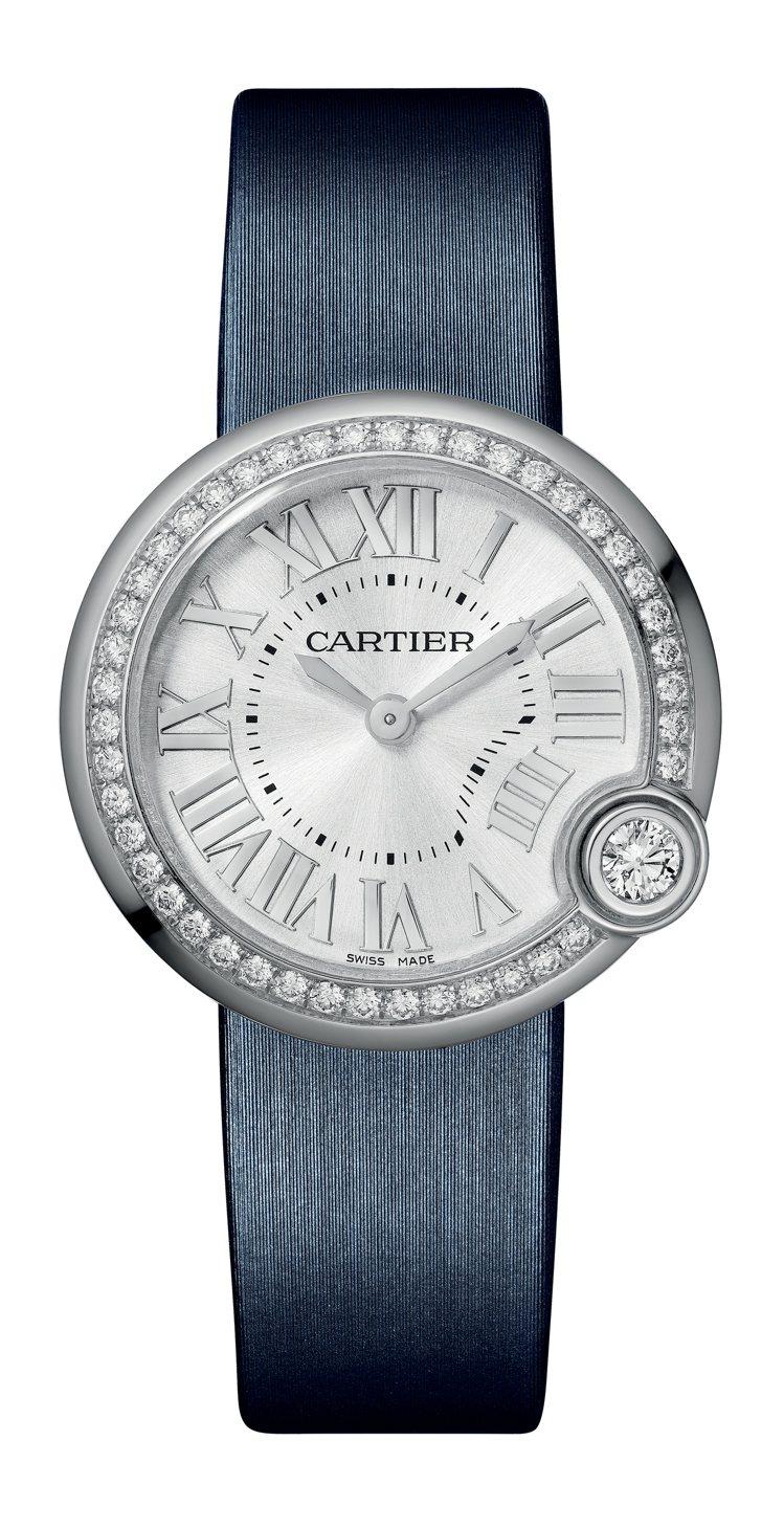 Ballon Blanc de Cartier 30毫米精鋼鑲鑽腕表,23萬元。...